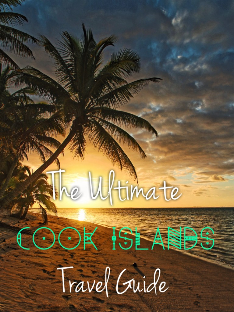 Cook Islands Travel Guide with Palm tree and beach at sunset