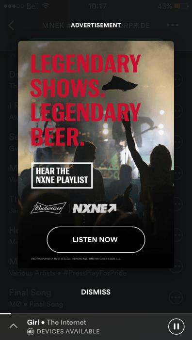 Overlay ad with custom ad creative