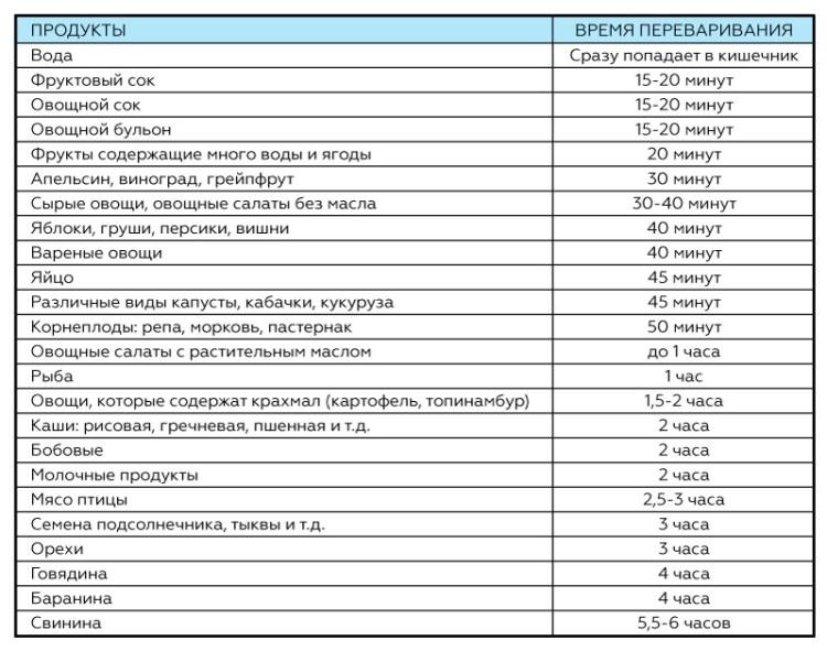 Как долго перевариваются продукты: эту таблицу стоит распечатать и повесить на видном месте!