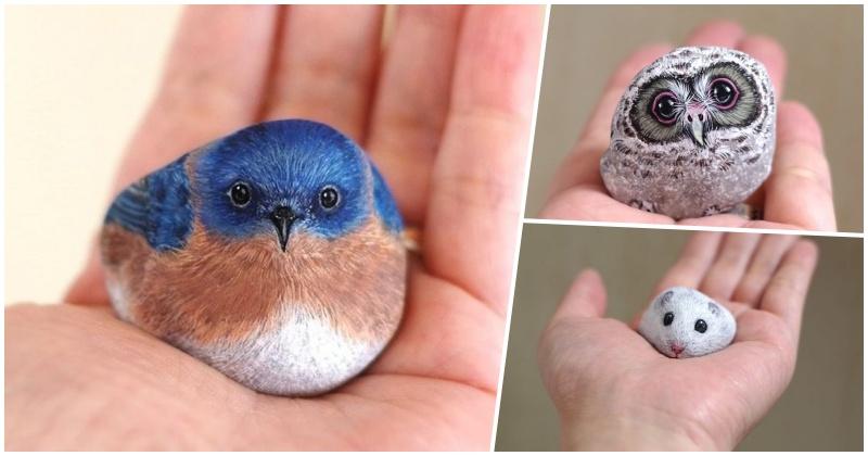 Японская художница творит чудеса и камни в руках стают животными