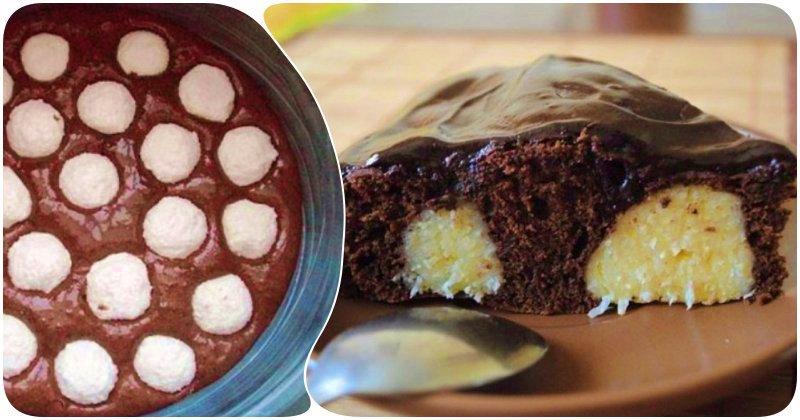 Шоколадный пирог с творожными шариками внутри приучит ваших деток к творогу