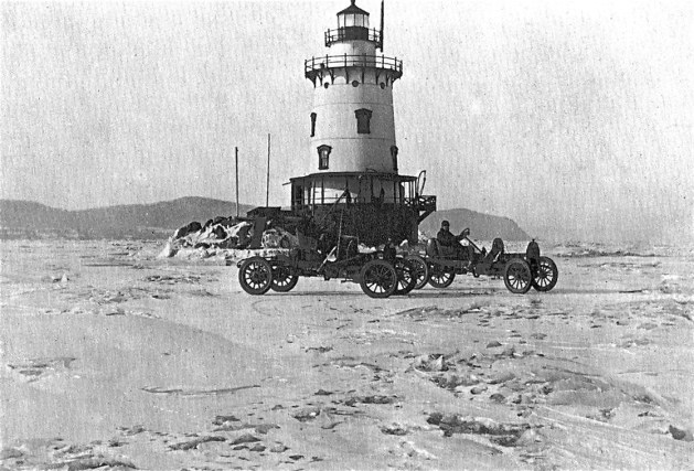 Two cars on ice at Sleepy Hollow Lighthouse