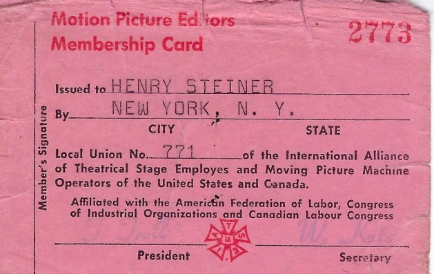 Film editor's union card