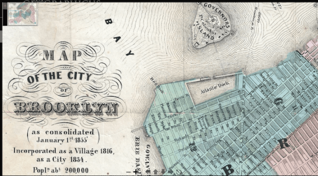 Detail 1856 map of Brooklyn showing Van Brunt St,, Red Hook
