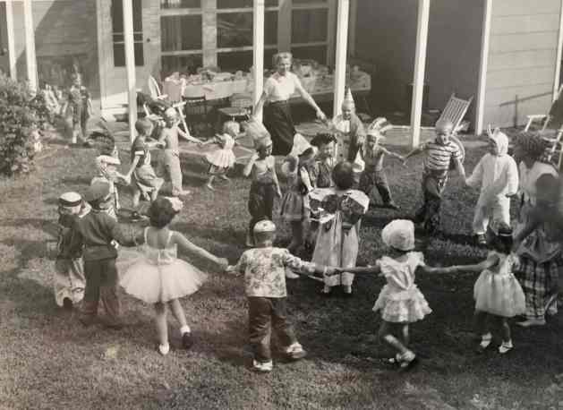 "Many of the revelers at this 245 Crest Drive costume party became the ""usual suspects"" during my Hackley Field jaunts. I'm standing to right of Mom near the top of the shot, about 1956."