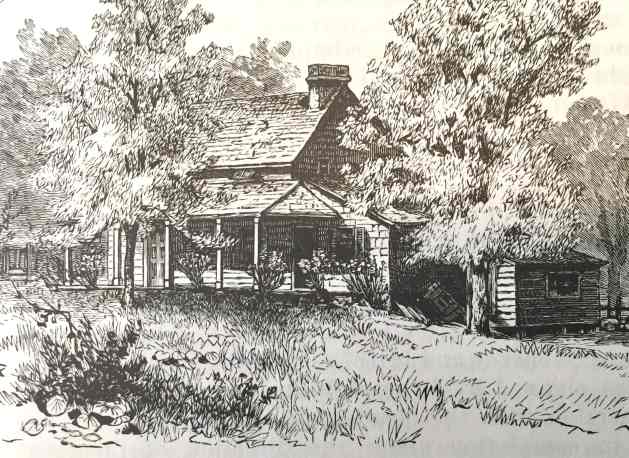 A 19th century sketch of the Poe cottage in its original location