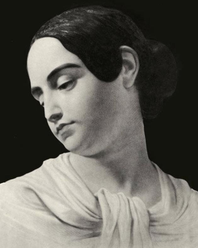 Postmortem watercolor of Virginia Clemm Poe