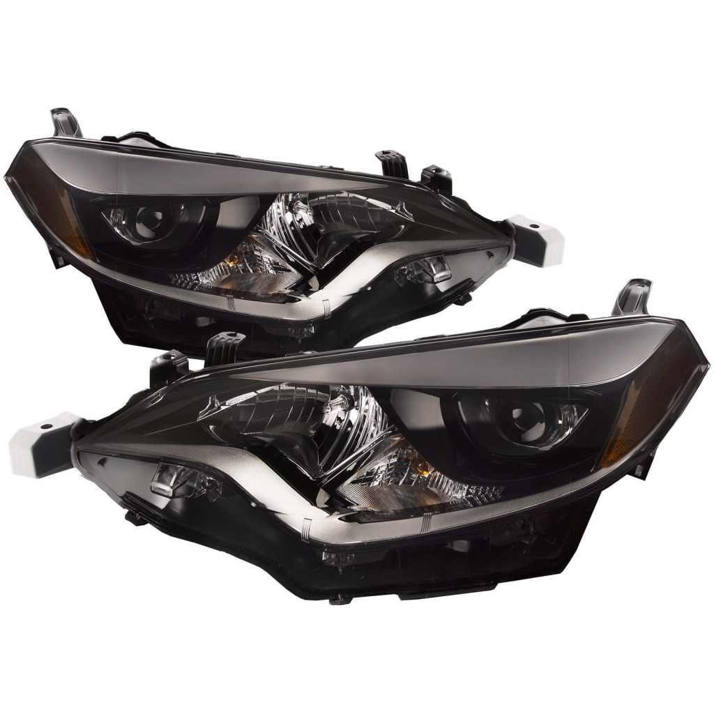 Headlights LEDHB3 Set Chrome Housing WPerformance Lens Left Driver Passenger Right Pair Fits 2014-2016 Toyota Corolla