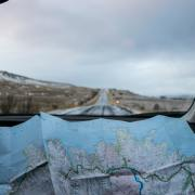 East Coast road trip with map in car