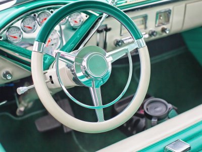 vintage mint green car with front bench seat