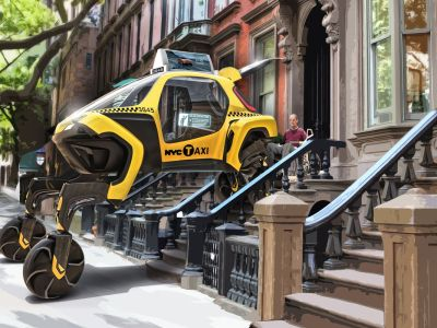 walking cars NYC taxi rendering