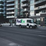 General Motors BrightDrop service through a FedEx truck