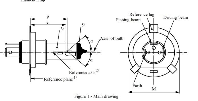 h4 headlight bulb dimension