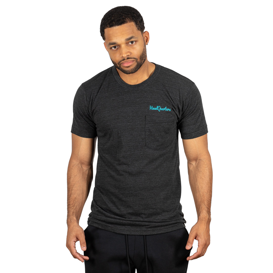 Logo Pocket Tee Tri-Black Teal