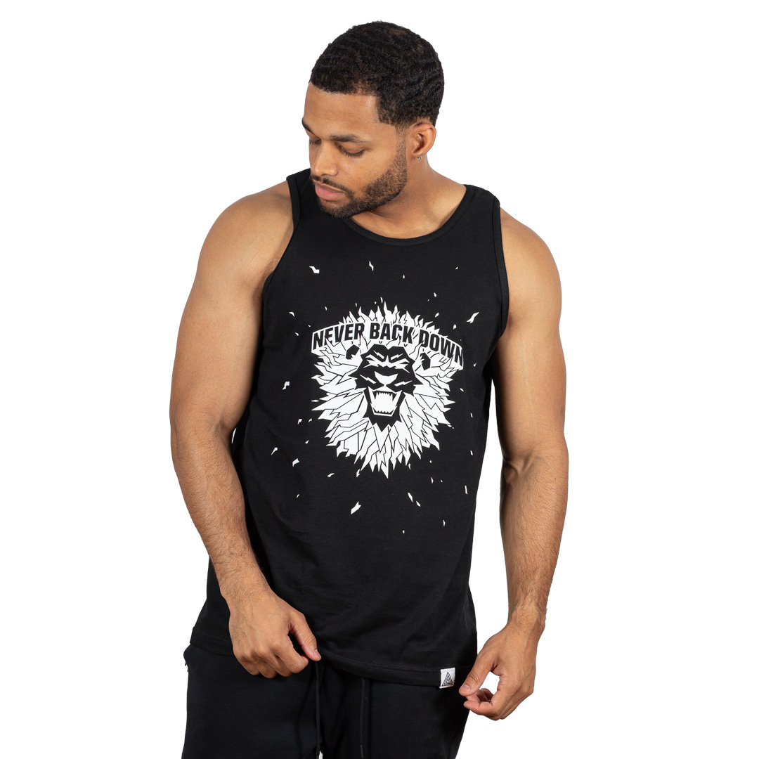 """Never Back Down"" Tank Black"