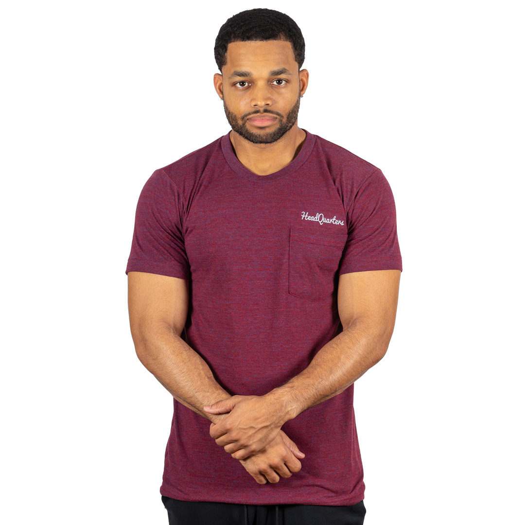 Logo Pocket Tee Tri-Cranberry Grey