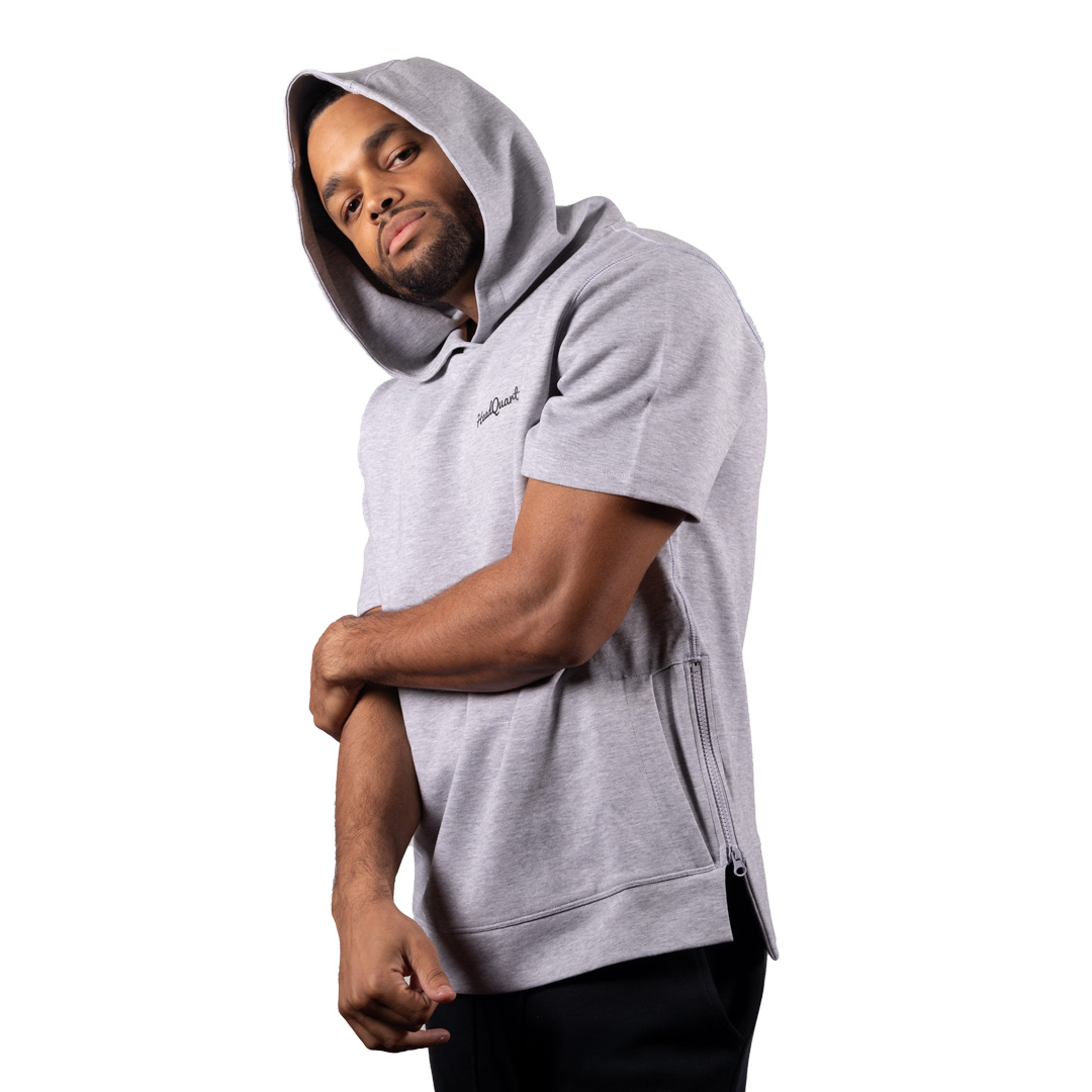 HeadQuarters Tech Fleece Short Sleeve Side Zip Hoodie Heather Grey