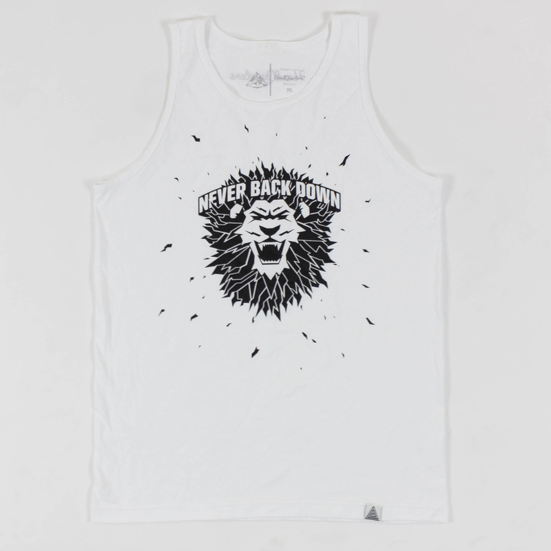 """Never Back Down"" Tank White"
