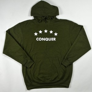 """Unisex """"Conquer"""" Hoodie Army Heather"""