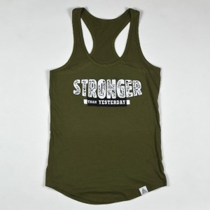 """WMNS """"Stronger Than Yesterday"""" Racerback Tank Military Green"""