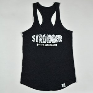 "WMNS ""Stronger Than Yesterday"" Racerback Tank Charcoal Heather"