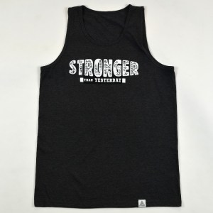 """Stronger Than Yesterday"" Tank Charcoal Heather"