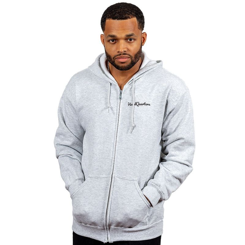 Unisex HeadQuarters Zip Up Logo Hoodie Ash