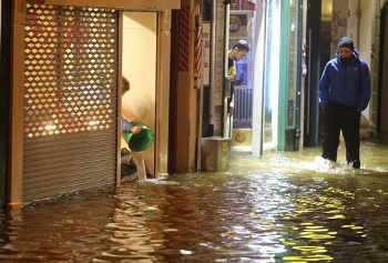 Flooded shops