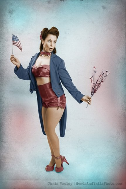 1940s Photographic Pin-up featuring a wholesome girl in a 4th of July Theme. Model: Amy Sherman