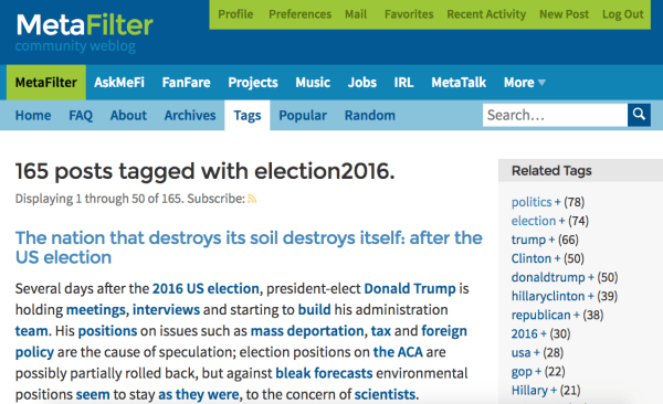 Metafilter Election2016 Politics Posts