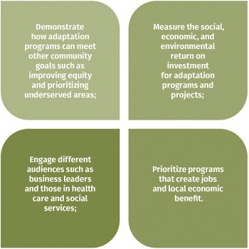 Economic data and methods can be used to demonstrate how adaptation programs can meet other community goals; measure the social, economic, and environmental return on investment for adaptation programs; engage different audiences; and prioritize programs that create jobs and local economic benefit.