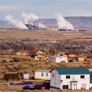 A community near a coal-fired power plant.