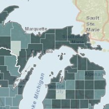 map of Michigan's Upper Penninsula