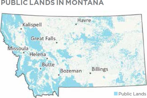 Map of public lands in Montana