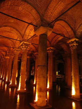 The columns and arches at the roof of the Basilica Cistern. Apparently residents would fish from their basements in the 16th century, so the cistern has hosted fish for quite a while