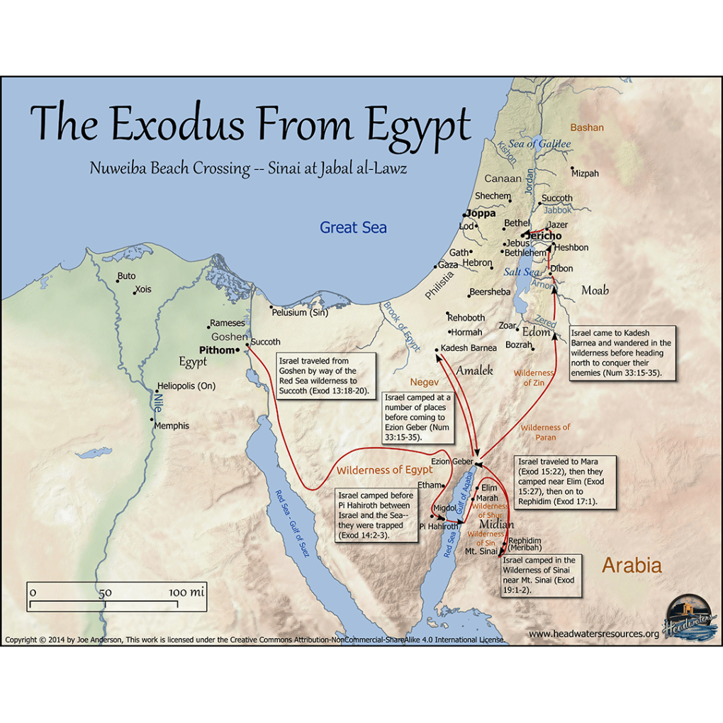 Map Of Moses Moving To Midian Headwaters Christian Resources - Map of egypt moses