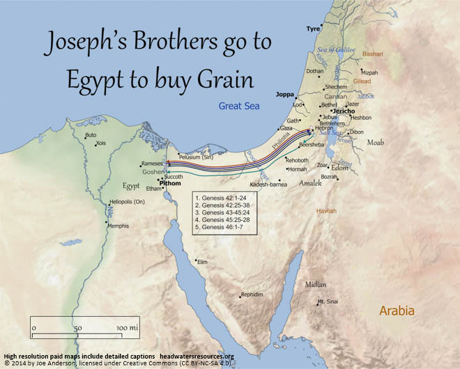Map Of Josephs Brothers Going To Egypt To Buy Grain Headwaters - Map of egypt high resolution