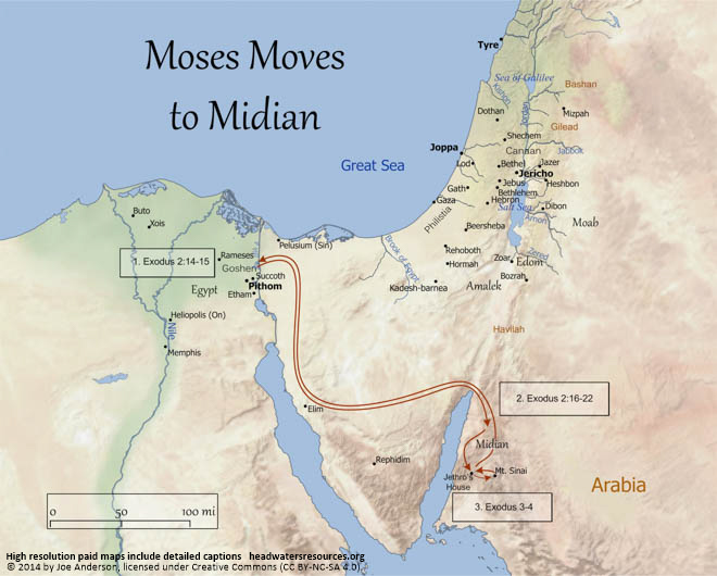 Map of Moses Moving to Midian  Headwaters Christian Resources
