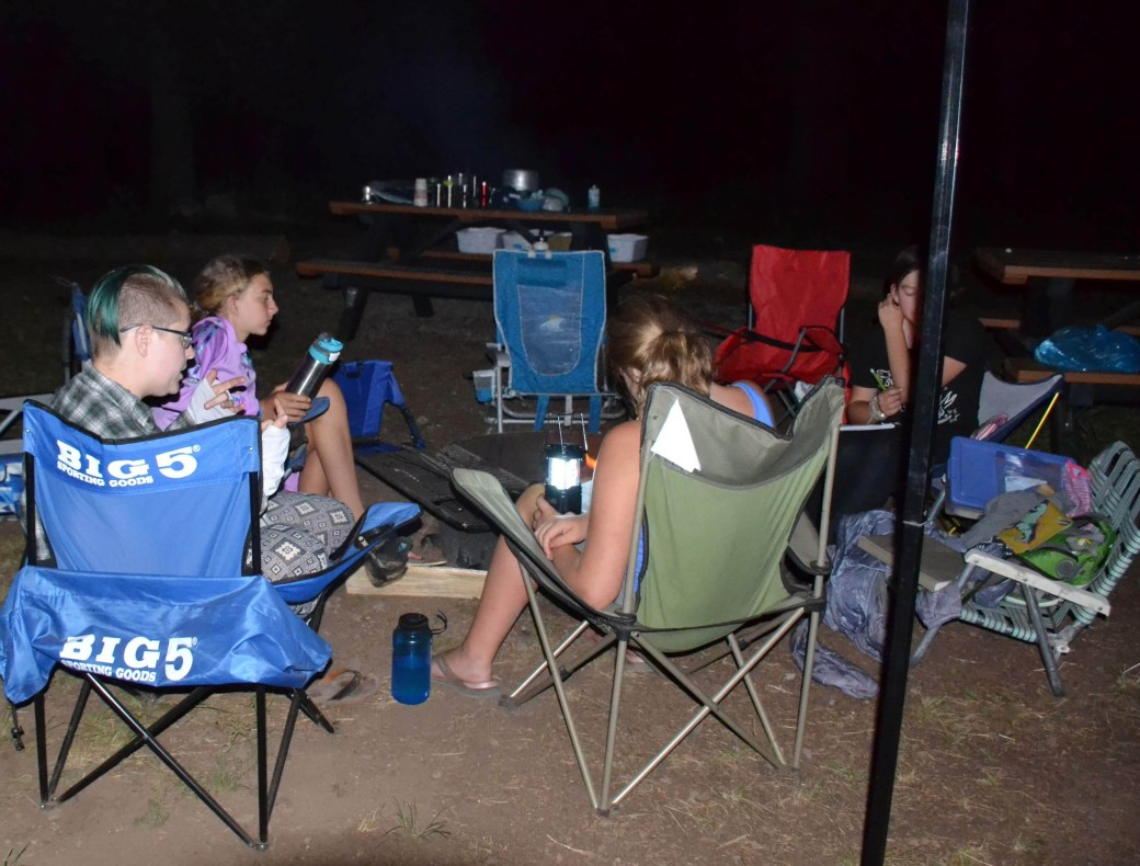 Campfire time at Girls science camp