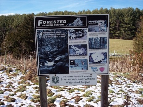 Interpretive sign for riparian buffer..