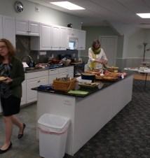 Sandy doing some food prep.