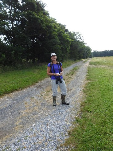 Kathy, on the road to reach Magnolia Swamp.