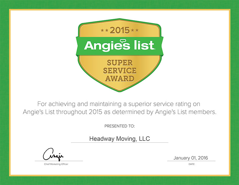 Headway Moving ANgies List 2015 super service award