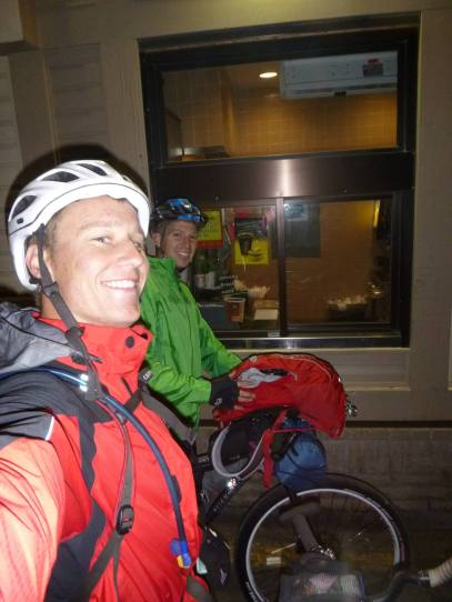 We head out into the rain on our ride to Cochrane that evening. Its 10 pm and the sunset lasts till midnight.