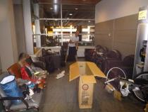 Putting together our bikes in Calgary International Airport.