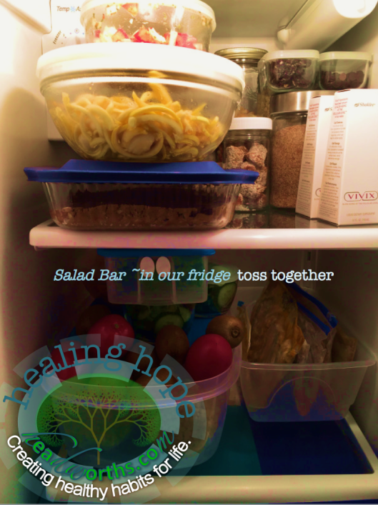salad bar in our fridge zucchini noodles