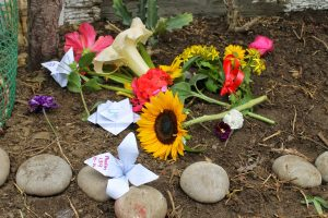 Real and paper flowers laying on ground