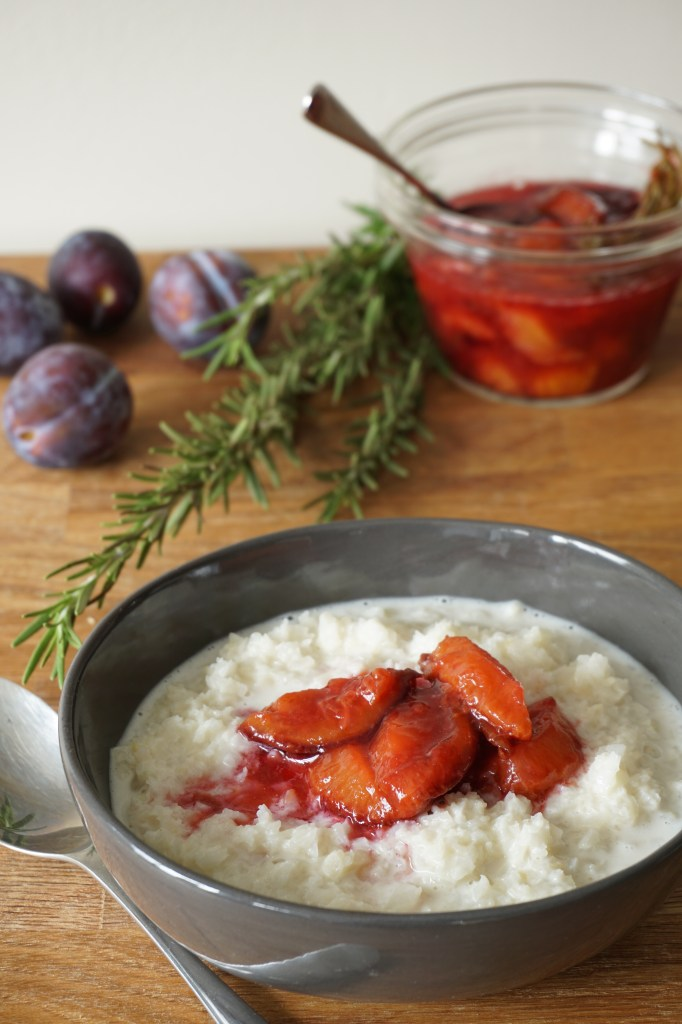 cauli 'porridge' with rosemary plum compote