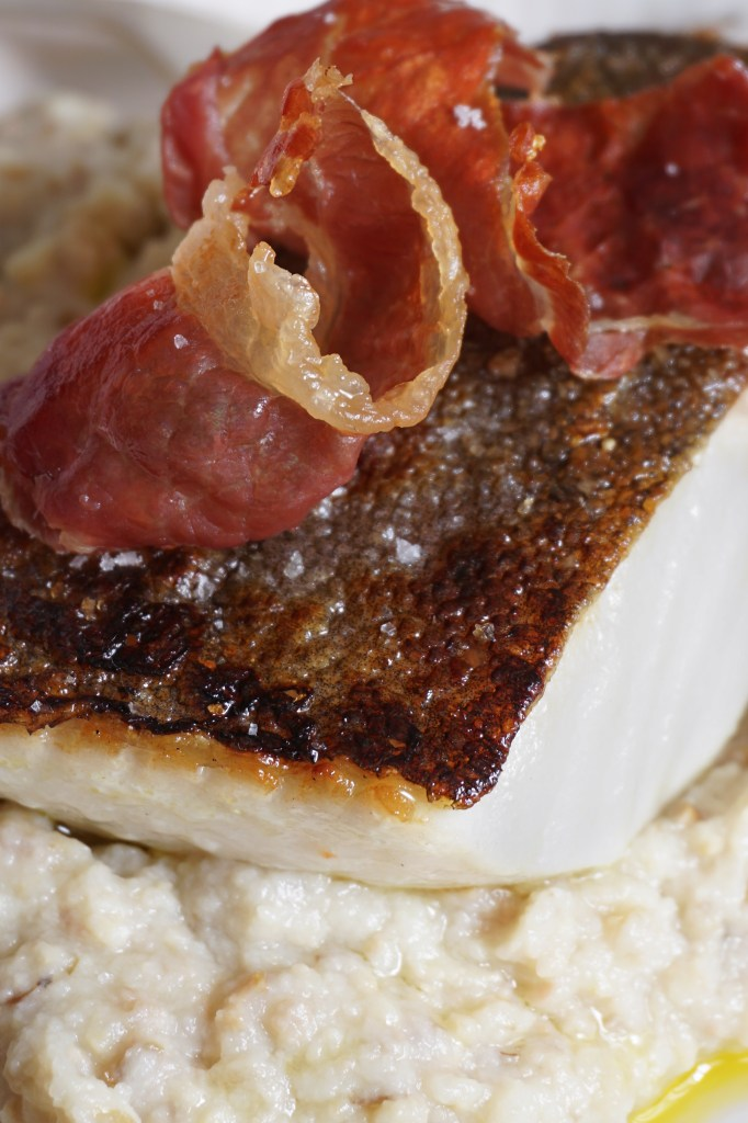 Pan-fried Halibut with Prosciutto and Olive Mash - AIP