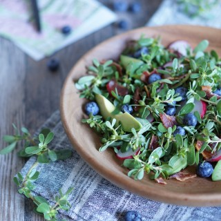 Purslane with Crispy Bacon and Blueberries {AIP, GAPS, SCD, Paleo}